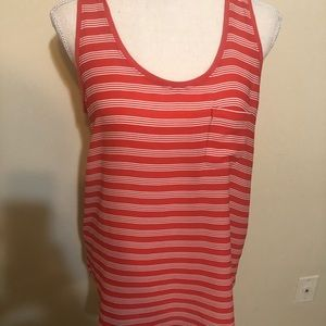 Coral and white striped sleeveless blouse